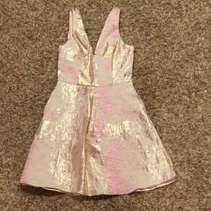 Never been worn Pink and gold metallic dress